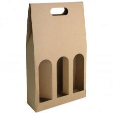 Dárkový karton na 3 lahve/ hnědá